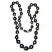 SALE Beautiful Vintage Tahitian Black Baroque Pearl Necklace 18K Catch