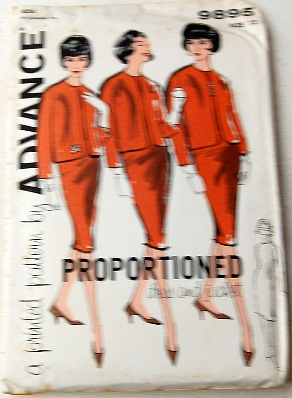 Vintage Advance Misses Proportioned Dress & Jacket Sewing Pattern Size 12