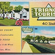 SALE 1948 Vintage Postcard Triangle Court Meridian Mississippi