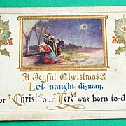 SALE Vintage Embossed  1923 Christmas Postcard
