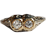 SALE Wonderful Art Deco 18K Gold Diamond Filigree Ring