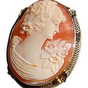 SALE Vintage Flapper Large Hand Carved Shell Cameo Brooch