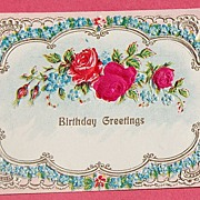 SALE Vintage Embossed  Austrian Birthday Greetings Post Card Red Roses