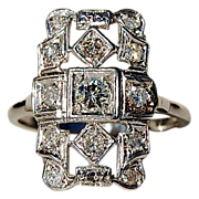 SALE Art Deco Platinum Diamond Ring