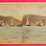 1865 Beauties Of The Hudson #4130 The Steamer Mary Powell Stereophotography Stereoview   Stere