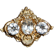 Early Victorian Silver Gilt Paste Brooch