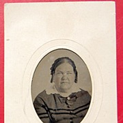 REDUCED Tin Type Lady On Card In Oval Frame