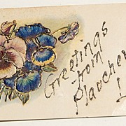 SALE 1907 Greetings From Plaucheville, Louisiana Glitter Embossed Postcard
