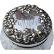 SALE Sterling Silver & Cut Crystal Floral Repousse Dresser Jar