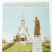 SALE Vintage Memorial Church & Evangeline Statue