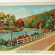1942 Greetings From Leesville, La. Postcard