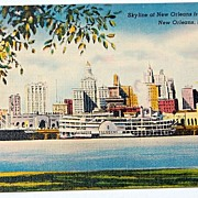 SALE Vintage Postcard Skyline Of New Orleans From The Harbor