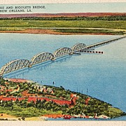 SALE Vintage Postcard Fort Pike & Rigolets Bridge New Orleans