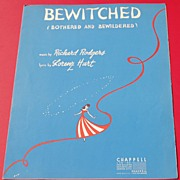 REDUCED Vintage 1941 Sheet Music Bewitched Bothered And Bewildered