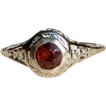 Vintage 18K Gold Synthetic Ruby Filigree Ring