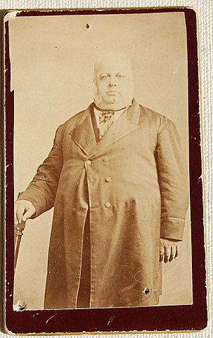 Victorian Cabinet Card Heavy Set Man In Long Coat With Cane