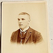 REDUCED Victorian Antique Cabinet Photo Card Young Man Robert T. Simons