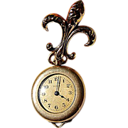Vintage 10K Gold Puffy Fleur D Lis Watch Pin