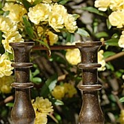 Pair Vintage English Peerage Brass Mini Candlesticks