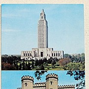 SALE Vintage Post Card The Old & New Louisiana State Capitol Buildings