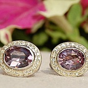 Vintage Sterling Silver Amethyst Color Paste Earrings