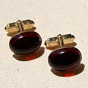 Vintage Hadley Faux Red Oval Dome Cuff Links Made In USA