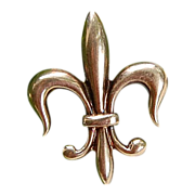 Victorian 14K Gold Fleur D Lis Watch Pin/Brooch