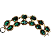Large Vintage Double Row Emerald Green Faceted Rhinestone Flexible Bracelet