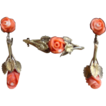 Vintage European Gold Vermeil Floral Coral Earrings And Brooch