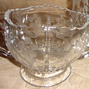 REDUCED Vintage Etched Glass Sugar Bowl