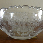 REDUCED Vintage Etched Glass Dish