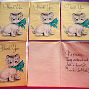 Five Vintage Kitten Forget Me Not Thank You Cards