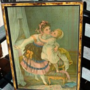 "Victorian Framed Chromolithograph ""The Goodnight Kiss"""
