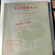 REDUCED 1944 Vintage Sheet Music Jalousie (Jealousy)