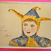 SOLD Vintage Hand Painted Fond Love Court Jester Silk Bookmark