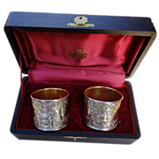 Pair Of Vintage Napkin Rings In Original Presentation Box