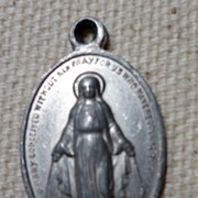 REDUCED Vintage Silver Tone Metal Immaculate Conception Medal Charm