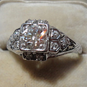 Vintage Art Deco 18K Gold European Cut Diamond Engagement Ring