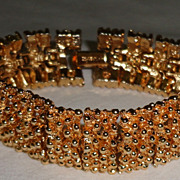 Vintage Gold Tone Metal Sarah Coventry Large Flexible Bracelet