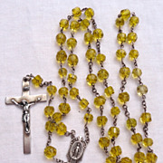 Unusual Vintage Faceted Yellow Crystal & Sterling Silver Rosary