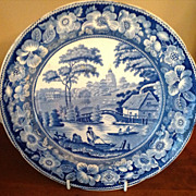 Antique Blue & White Wild Rose Warming Dish