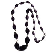 Victorian Czech Faceted Amethyst Glass Bead Necklace