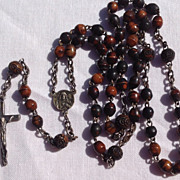 Early Wooden Steel & Sterling Silver Rosary