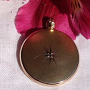 Antique Victorian Gold Shell Paste  Double Photo Locket