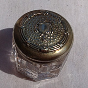 Vintage Art Deco Silver Tone Metal Dresser Jar