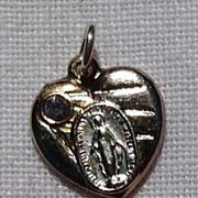 REDUCED Tiny Vintage  Silver Tone Heart Shaped Miraculous Medal