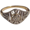 Lovely French 18K Gold Art Deco Diamond Ring