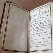 Antique 1787 Early Leather French Accounting Handbook