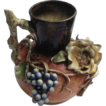 Rare French Barbotine Floral Fruit Faience Manufacturing Co. Pitcher