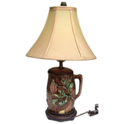 Antique English Wild Rose Majolica Pitcher Lamp